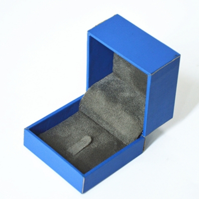 Nice Beautiful Bright Blue Handmade Velvet Lining Jewelry Box Ring Storage