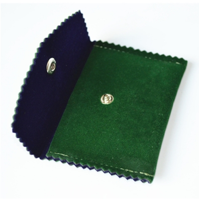 high-grade beautiful forest green embroidery logo soft velvet bag with button