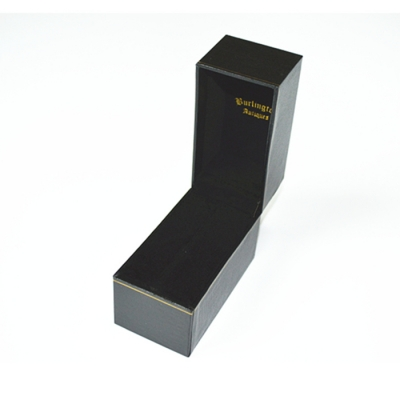 Hot selling Popular Wholesale black leather paper with gold line packaging jewelry box